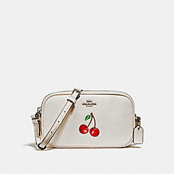 COACH CROSSBODY POUCH WITH CHERRY - CHALK MULTI/SILVER - F25847