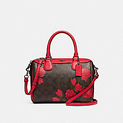COACH MINI BENNETT SATCHEL WITH CAMO ROSE FLORAL PRINT - BLACK ANTIQUE NICKEL/BROWN RED MULTI - F25870