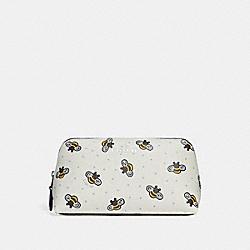 COSMETIC CASE 17 WITH BEE PRINT - CHALK MULTI/SILVER - COACH F25886