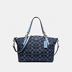 SMALL KELSEY SATCHEL IN SIGNATURE DENIM - SILVER/DENIM - COACH F25891