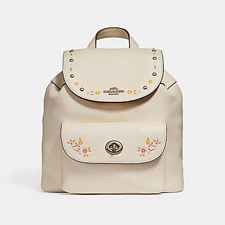 COACH f25895 MINI BILLIE BACKPACK WITH FLORAL TOOLING SILVER/CHALK
