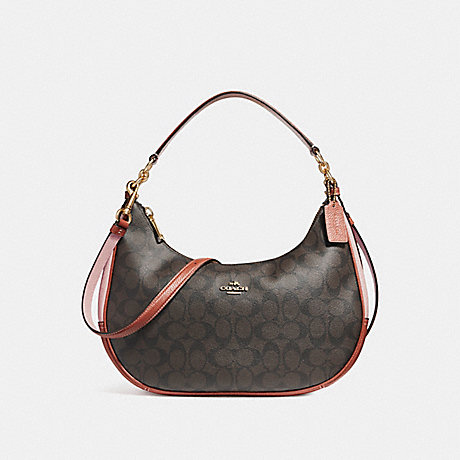 COACH EAST/WEST HARLEY HOBO IN COLORBLOCK SIGNATURE CANVAS - BROWN/BLUSH TERRACOTTA/LIGHT GOLD - f25897