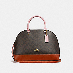 COACH SIERRA SATCHEL IN COLORBLOCK SIGNATURE CANVAS - BROWN/BLUSH TERRACOTTA/LIGHT GOLD - F25898