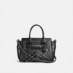 COACH SWAGGER 27 WITH QUILTING AND RIVETS - BLACK/BLACK COPPER - COACH F25904
