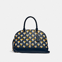 COACH MINI SIERRA SATCHEL WITH CHECKER HEART PRINT - MIDNIGHT MULTI/LIGHT GOLD - F25916
