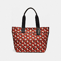 COACH SMALL TOTE WITH CHECKER HEART PRINT - TERRACOTTA MULTI/LIGHT GOLD - F25917