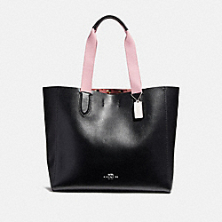COACH LARGE DERBY TOTE WITH CHECKER HEART PRINT INTERIOR - SILVER/BLACK - F25920