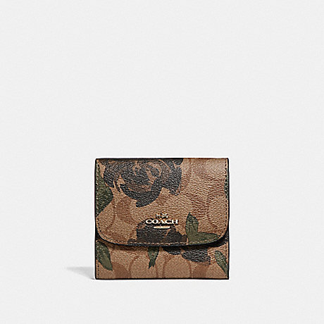 COACH SMALL WALLET WITH CAMO ROSE FLORAL PRINT - LIGHT GOLD/KHAKI - f25930