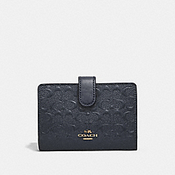 COACH MEDIUM CORNER ZIP WALLET - MIDNIGHT/IMITATION GOLD - F25937