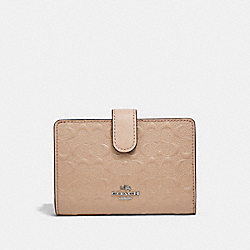 MEDIUM CORNER ZIP WALLET - SILVER/LIGHT PINK - COACH F25937
