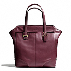 TAYLOR LEATHER NORTH/SOUTH TOTE - f25941 - BRASS/BORDEAUX