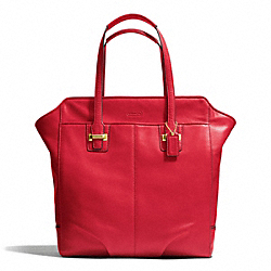 COACH TAYLOR LEATHER NORTH/SOUTH TOTE - BRASS/CORAL RED - F25941