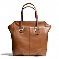 TAYLOR LEATHER NORTH/SOUTH TOTE - f25941 - BRASS/SADDLE