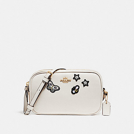 COACH f25946 CROSSBODY POUCH WITH SOUVENIR EMBROIDERY CHALK/LIGHT GOLD