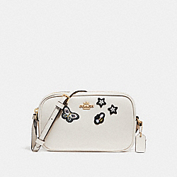 COACH CROSSBODY POUCH WITH SOUVENIR EMBROIDERY - CHALK/LIGHT GOLD - F25946