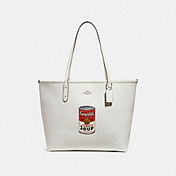 COACH CITY TOTE WITH CAMPBELL'S® MOTIF - SILVER/CHALK - F25948