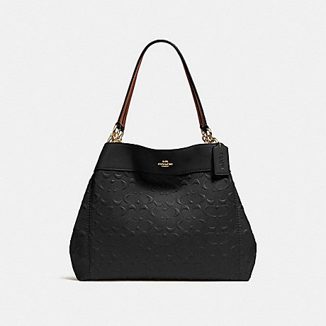COACH LEXY SHOULDER BAG IN SIGNATURE LEATHER - BLACK/LIGHT GOLD - F25954