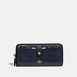 MULTIFUNCTION WALLET WITH CHECKER HEART PRINT - MIDNIGHT MULTI/LIGHT GOLD - COACH F25964
