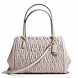 COACH MADISON GATHERED TWIST MADELINE EAST/WEST SATCHEL - LIGHT GOLD/GREY BIRCH - F25981