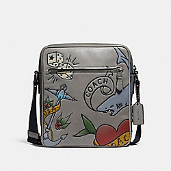 METROPOLITAN FLIGHT BAG WITH TATTOO TOOLING - HEATHER GREY/BLACK ANTIQUE NICKEL - COACH F25987