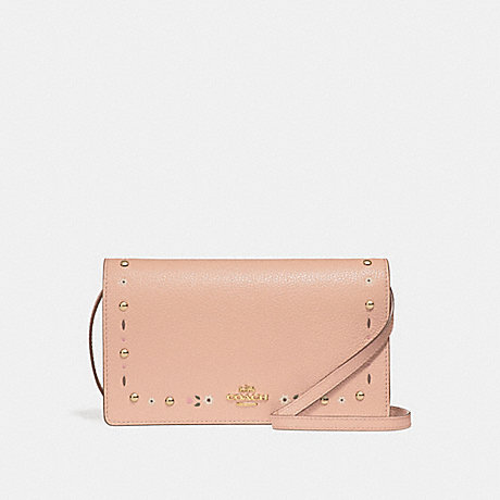 COACH f26007 FOLDOVER CROSSBODY CLUTCH WITH FLORAL TOOLING NUDE PINK/LIGHT GOLD