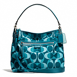 COACH DAISY DREAM C PRINT CONVERTIBLE HOBO - SILVER/TEAL MULTI - F26023