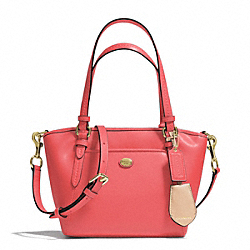COACH PEYTON LEATHER MINI POCKET TOTE - BRASS/CORAL - F26029