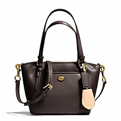 COACH PEYTON LEATHER MINI POCKET TOTE - BRASS/MAHOGANY - F26029
