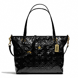 PEYTON OP ART EMBOSSED PATENT POCKET TOTE - f26038 - BRASS/BLACK