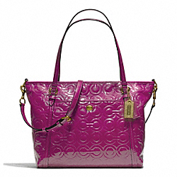 PEYTON OP ART EMBOSSED PATENT POCKET TOTE - f26038 - 20094