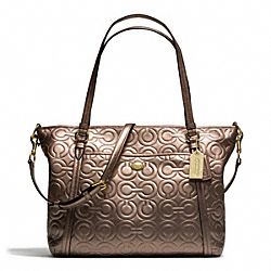 PEYTON OP ART EMBOSSED PATENT POCKET TOTE - f26038 - BRASS/BRONZE