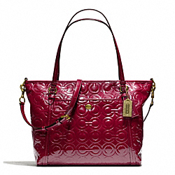 PEYTON OP ART EMBOSSED PATENT POCKET TOTE - f26038 - BRASS/MERLOT