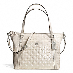 COACH PEYTON OP ART EMBOSSED PATENT POCKET TOTE - SILVER/IVORY - F26038
