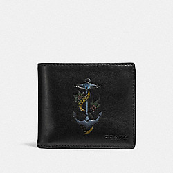 DOUBLE BILLFOLD WALLET WITH TATTOO - BLACK - COACH F26058