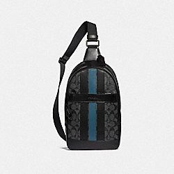 CHARLES PACK IN SIGNATURE CANVAS WITH VARSITY STRIPE - BLACK BLACK MINERAL/BLACK ANTIQUE NICKEL - COACH F26067