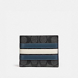 3-IN-1 WALLET IN SIGNATURE CANVAS WITH VARSITY STRIPE - MIDNIGHT NVY/DENIM/CHALK - COACH F26072