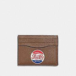 COACH SLIM CARD CASE WITH PEPSI® MOTIF - SADDLE - F26087