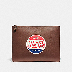 COACH LARGE POUCH WITH PEPSI® MOTIF - SADDLE - F26091