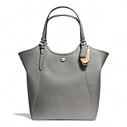 PEYTON LEATHER TOTE - f26103 - SILVER/PEWTER