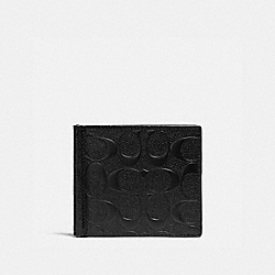 COACH MONEY CLIP BILLFOLD IN SIGNATURE LEATHER - BLACK - F26107