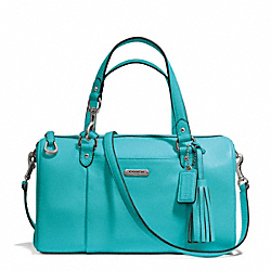 COACH AVERY LEATHER SATCHEL - SILVER/TURQUOISE - F26121