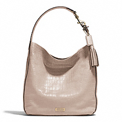 AVERY EMBOSSED CROC HOBO - f26122 - BRASS/STONE