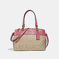 MINI BROOKE CARRYALL IN SIGNATURE CANVAS - LIGHT KHAKI/PEONY/LIGHT GOLD - COACH F26139