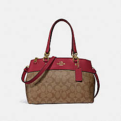 MINI BROOKE CARRYALL IN SIGNATURE CANVAS - KHAKI/CHERRY/LIGHT GOLD - COACH F26139