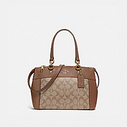 MINI BROOKE CARRYALL IN SIGNATURE CANVAS - KHAKI/SADDLE 2/LIGHT GOLD - COACH F26139