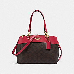 MINI BROOKE CARRYALL IN SIGNATURE CANVAS - BROWN/TRUE RED/LIGHT GOLD - COACH F26139