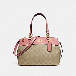 MINI BROOKE CARRYALL IN SIGNATURE CANVAS - LIGHT KHAKI/VINTAGE PINK/IMITATION GOLD - COACH F26139