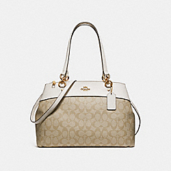 LARGE BROOKE CARRYALL IN SIGNATURE CANVAS - LIGHT KHAKI/CHALK/LIGHT GOLD - COACH F26140