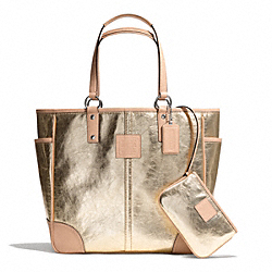 COACH METALLIC TOTE - SILVER/GOLD - F26141