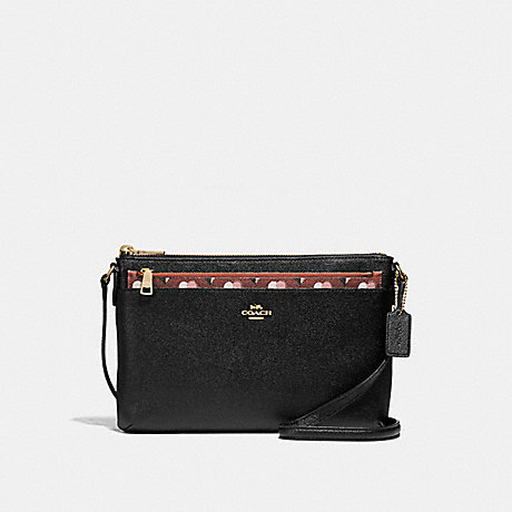 COACH f26149 EAST/WEST CROSSBODY WITH POP-UP POUCH WITH CHECKER HEART PRINT TERRACOTTA MULTI/LIGHT GOLD